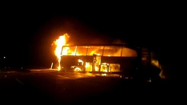 Yolcu otobüsü yandı:7 yaralı
